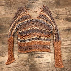Free People Orange Gray stripe V Neck Knit Sweater